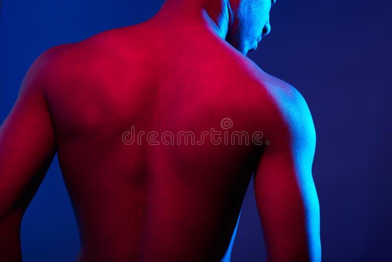 Schlie?en Sie oben von der m?nnlichen muskul?sen hemdlosen R?ckseite des Sports, die auf dunklem Hintergrund lokalisiert wird stockfotografie