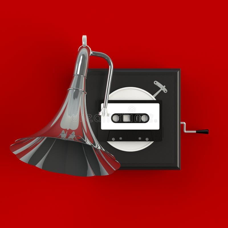 Schließen Sie oben von der Magnetband- für Tonaufzeichnungenkassette der Weinlese mit Grammophonkonzeptillustration auf rotem Hin lizenzfreie stockfotos