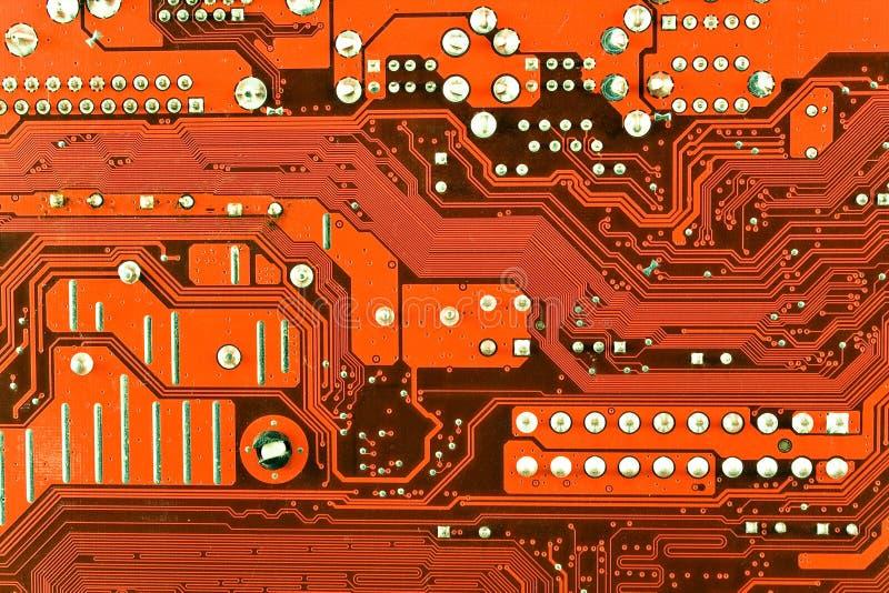 Schließen Sie Oben Von Der Roten ComputerLeiterplatte Lizenzfreies Stockfoto