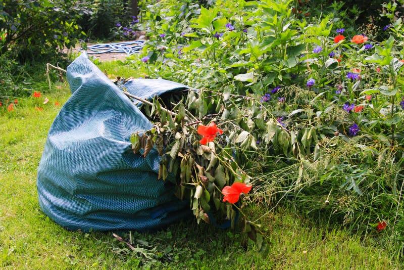 Schließen Sie oben von der Tasche mit Gartenabfall auf grünem Gras mit Blumen während der Gartenarbeit stockfoto