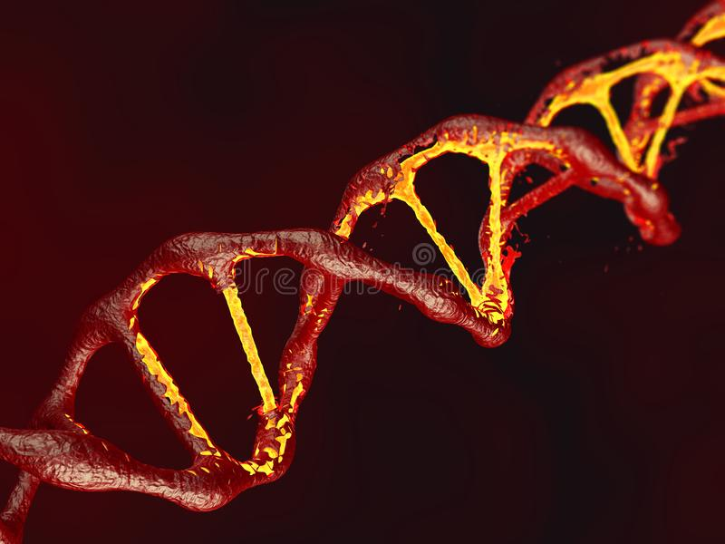 Schließen Sie oben von DNA-Struktur auf rotem Hintergrund - Illustration 3D stockbild