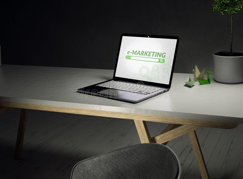 Schließen Sie oben von einem Schreibtisch mit einem Laptop und einem Emarketing auf Schirm und vom Stuhl auf einem weißen Bretter lizenzfreie abbildung
