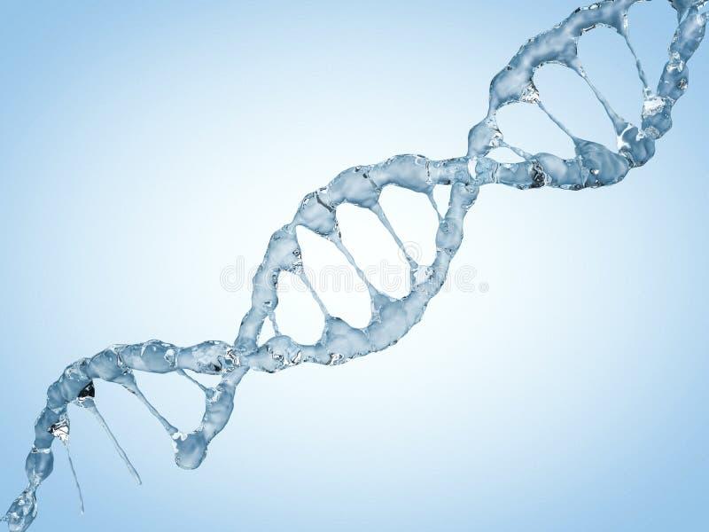 Schließen Sie oben von einer diagonalen DNA-Kette des Wassers 3d vektor abbildung