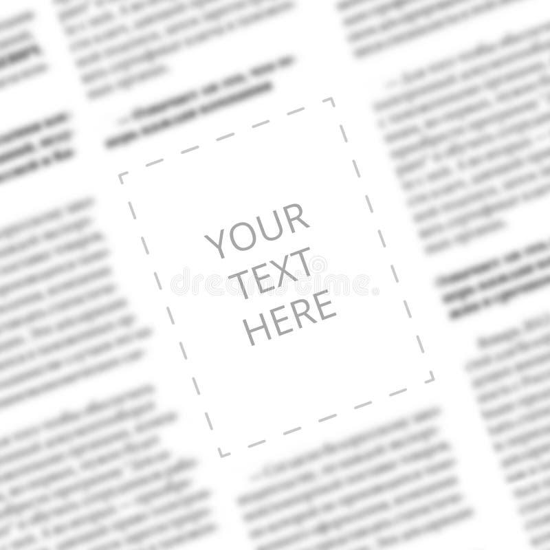 Schließen Sie oben von einer unscharfen Zeitungskolumne mit leerem Quadrat in der Mitte für Designermodell Winkelsicht zu geschri stockbild