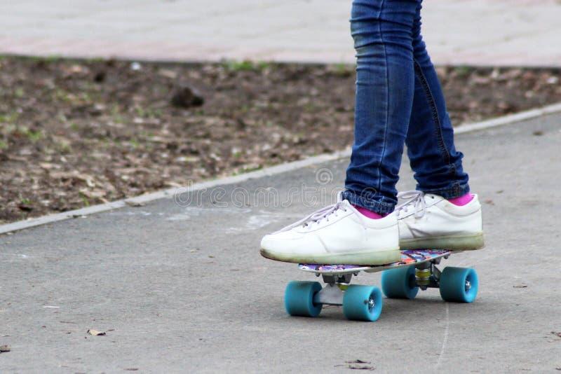 Schließen Sie oben von Skateboardfahrer, draußen stockbild