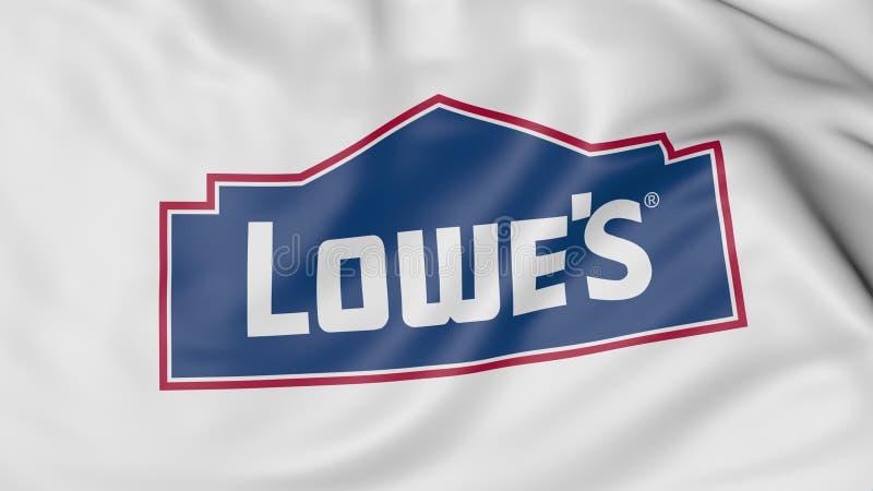 Schließen Sie oben von wellenartig bewegender Flagge mit Lowe's-Logo, Wiedergabe 3D lizenzfreie abbildung