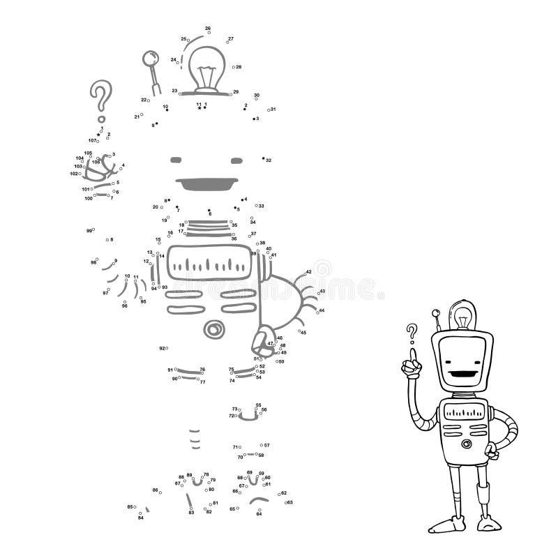 Schließen Sie Punkte an Karikaturroboterbild, Vektorcharakter Zahlenspiel für Kinder stock abbildung