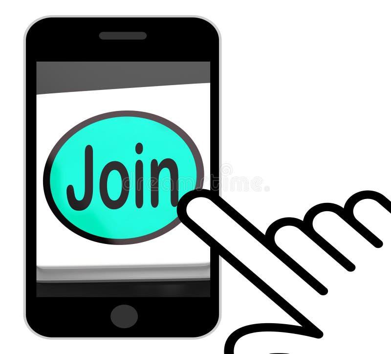 Schließen Sie sich den Knopf-Anzeigen an, die Mitgliedschaft oder Ausrichtung unterzeichnen lizenzfreie abbildung