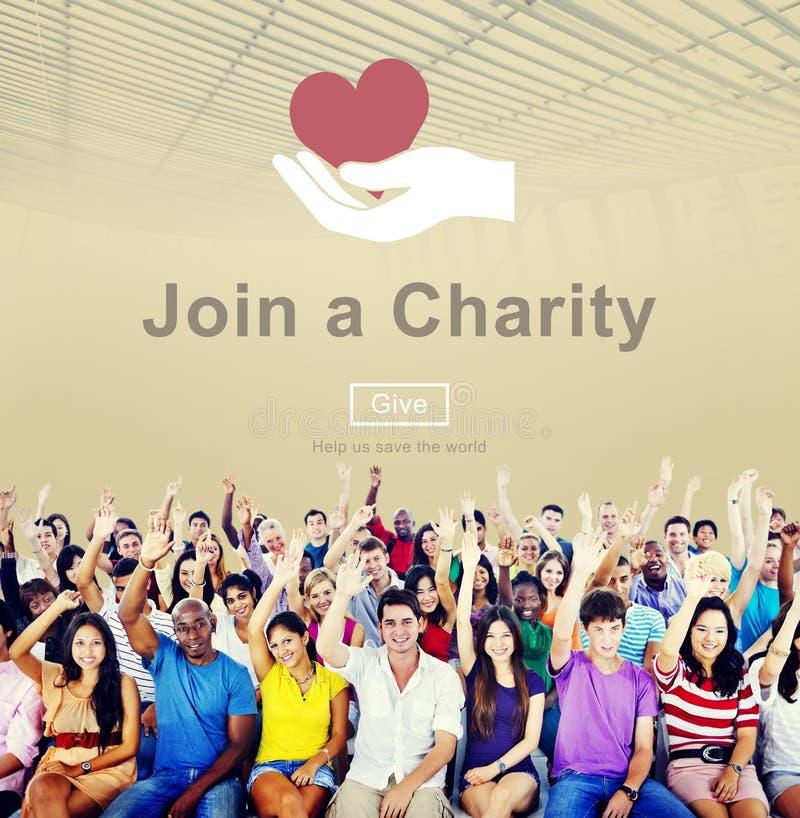 Schließen Sie sich einem Nächstenliebe-Hilfseinladungs-Sorgfalt-Liebes-Konzept an stockbilder