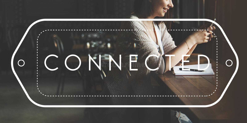 Schließen Sie Verbindung verbundenes Vernetzungs-Kommunikations-Konzept an stockbild
