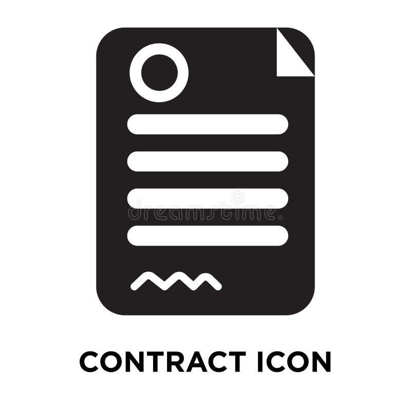 Schließen Sie Vertrag Ikonenvektors ab, der auf weißem Hintergrund, Logokonzept lokalisiert wird vektor abbildung