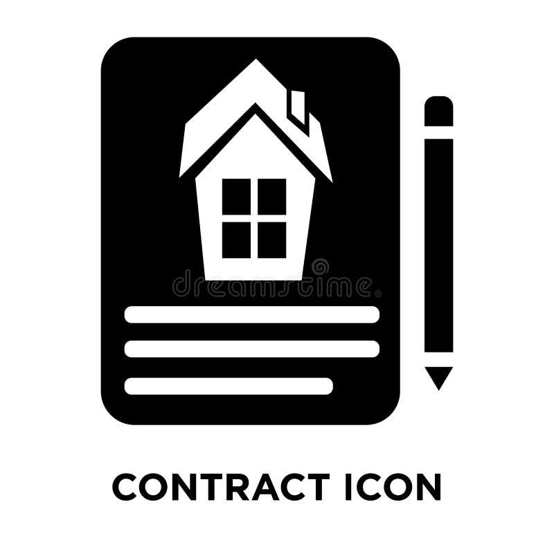 Schließen Sie Vertrag Ikonenvektors ab, der auf weißem Hintergrund, Logokonzept lokalisiert wird lizenzfreie abbildung
