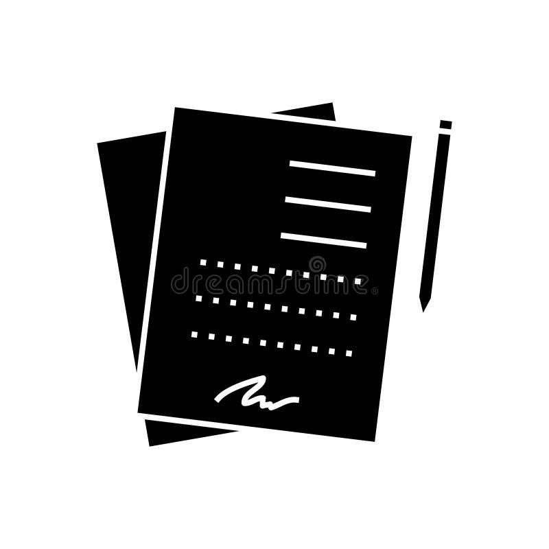Schließen Sie Vertrag unterzeichnenden Dokumentenikone, Vektorillustration, Zeichen auf lokalisiertem Hintergrund ab lizenzfreie abbildung