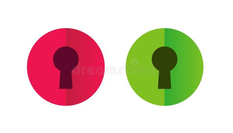 Schließen Sie zu und entriegeln Sie Knopf, Schlüsselloch-Symbol, Vektor-Illustrations-Satz stock abbildung