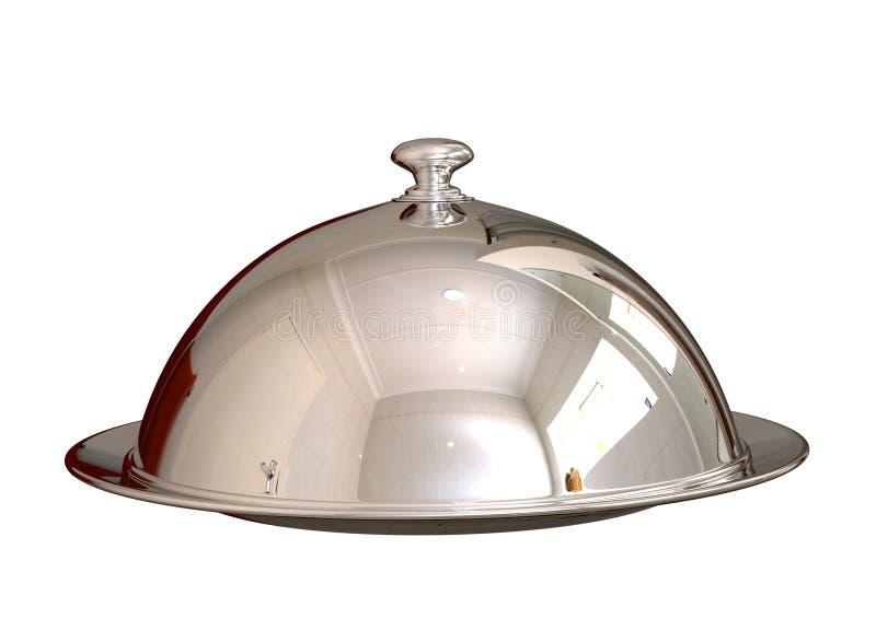 Schließender Teller der silbernen Chromglasglocke Nahrungsmittelim Restaurant lokalisiert auf weißem Hintergrund vektor abbildung