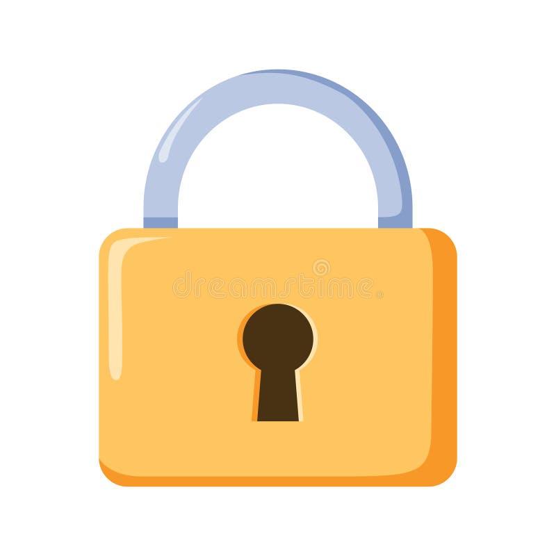 Schließfachikone, Vektorvorhängeschlosssymbol Schlüsselverschlussillustrationsprivatleben und Passwortikone stock abbildung