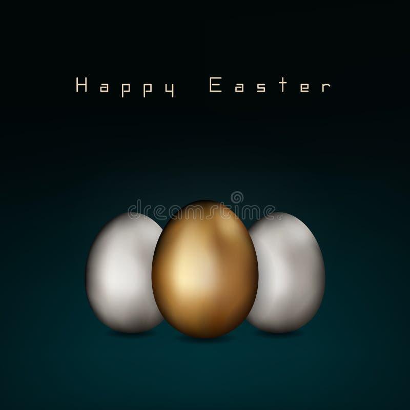 Schließen Sie oben vom Gold und von silbernen Ostereiern auf dunklem Hintergrund Ostern golden und weiße Eier Einladungsentwurf,  lizenzfreie abbildung