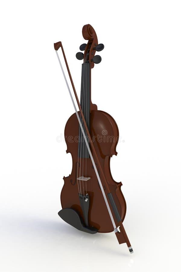 Schließen Sie oben von der klassischen Violine mit dem Bogen, der auf weißem Hintergrund, Streichinstrument lokalisiert wird stock abbildung