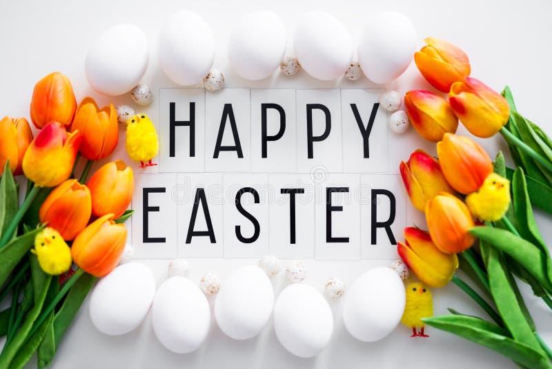 Schließen Sie oben von glücklichen Ostern-Grüßen, von den Eiern und von den Tulpenblumen über Weiß lizenzfreie stockfotografie