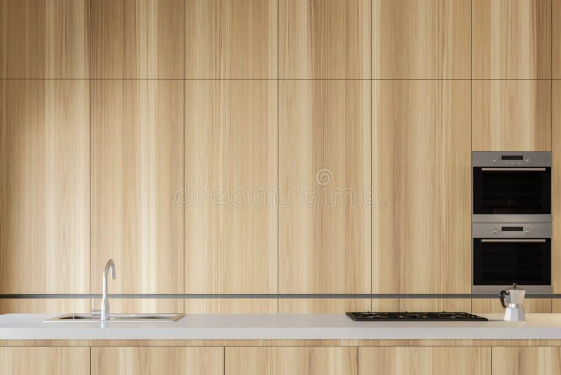 Schließen Sie oben von hölzernem Küche Countertop stock abbildung
