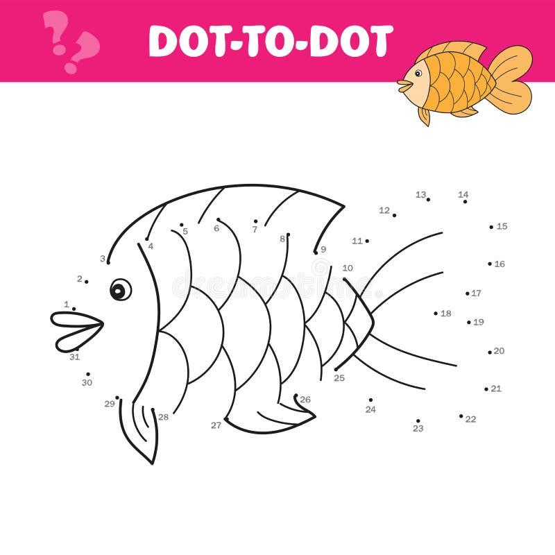 Schlie?en Sie die Punkte an und zeichnen Sie einen netten Fisch Zahlenspiel f?r Kinder Vektor stock abbildung