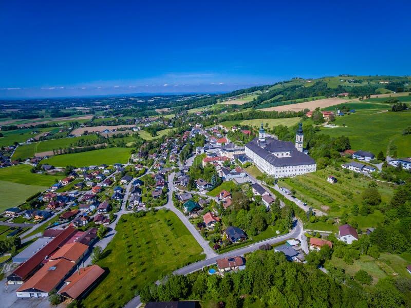 Schlierbach in Upper Austria, aerial view austria landscape. Schlierbach in Upper Austria, Schlierbach in Upper Austria, aerial view austria landscape stock images