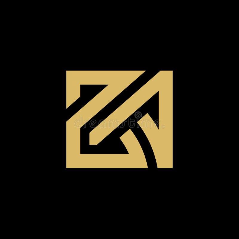 Schlingende ZA- oder AZ-Anfangsbuchstaben, verbundenes Logo, eleganter Goldentwurf auf schwarzem Hintergrund - Vektor vektor abbildung