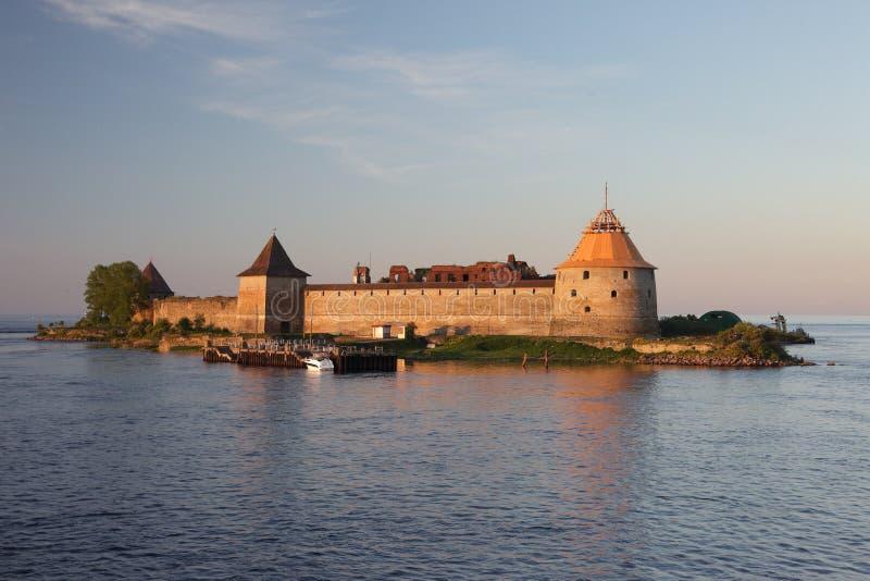 Schlisselburg forteca na Volga rzece obrazy royalty free
