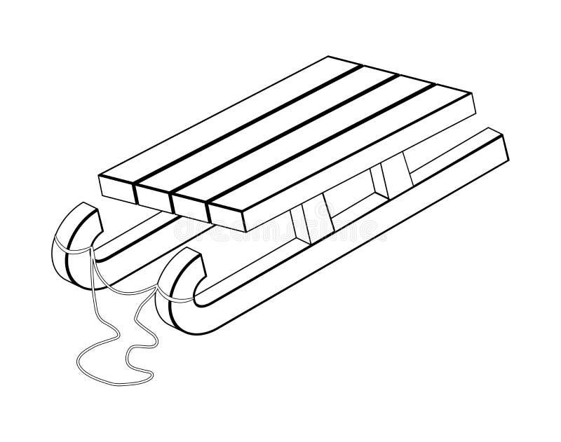 Schlitten, hölzernes Schlittenschattenbild, Entwurfsvektorsymbol-Ikone desig lizenzfreie abbildung