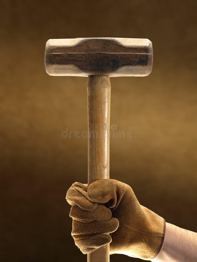 Schlitten-Hammer und Handschuh lizenzfreies stockfoto