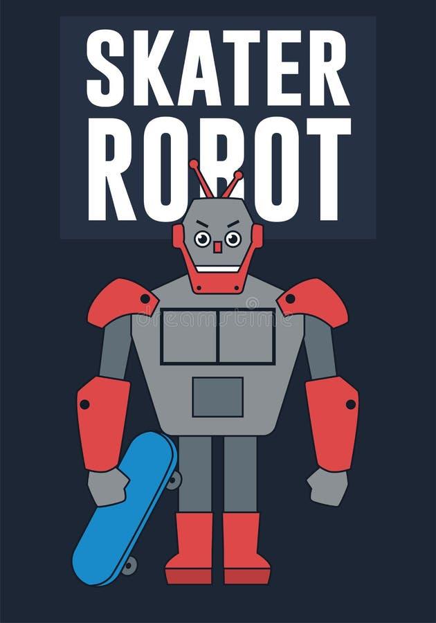 Schlittschuhläufer-Roboter-Illustration lizenzfreie abbildung