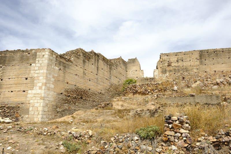 Schloss Alarcos bei Ciudad Real, Castilla la Mancha, Spanien stockbild