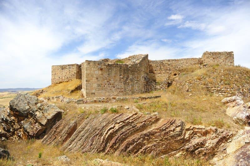 Schloss Alarcos bei Ciudad Real, Castilla la Mancha, Spanien stockfotos