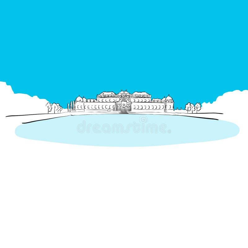 Schloss Bevedere,维也纳,蓝色系列 向量例证