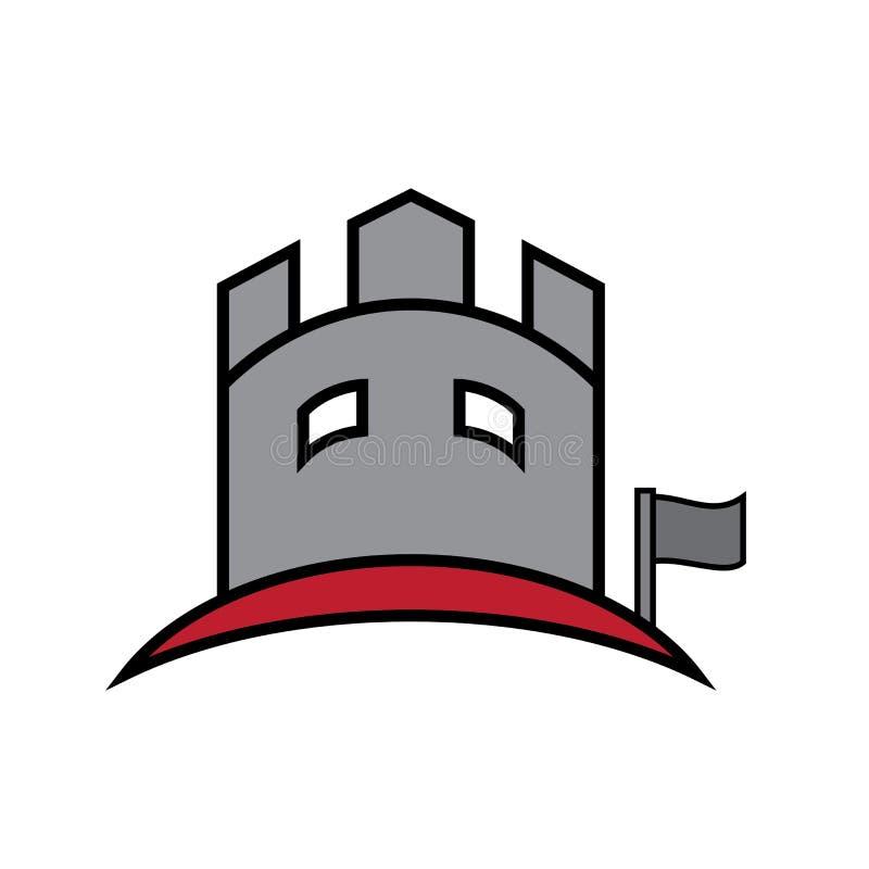 Schloss, das flachen Logovektor aufbaut lizenzfreie abbildung