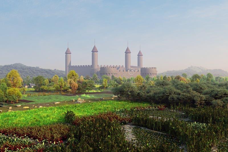 Schloss in den Gärten vektor abbildung