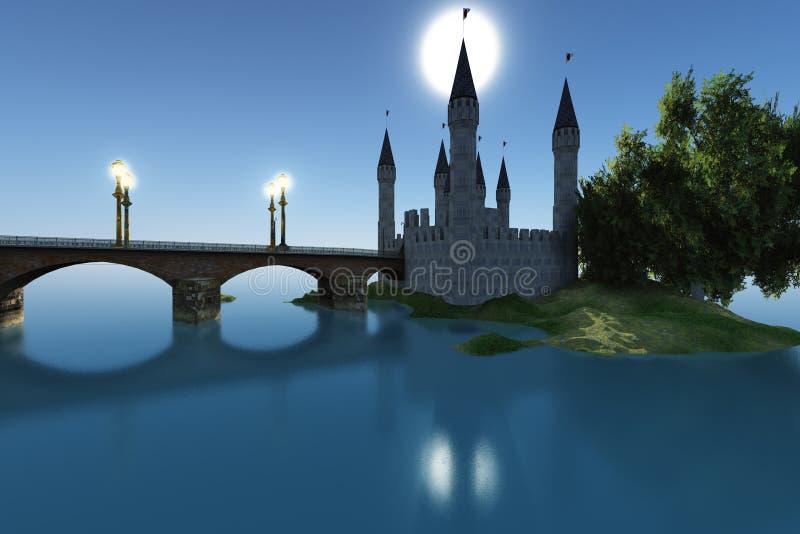 Schloss durch das Meer lizenzfreie abbildung