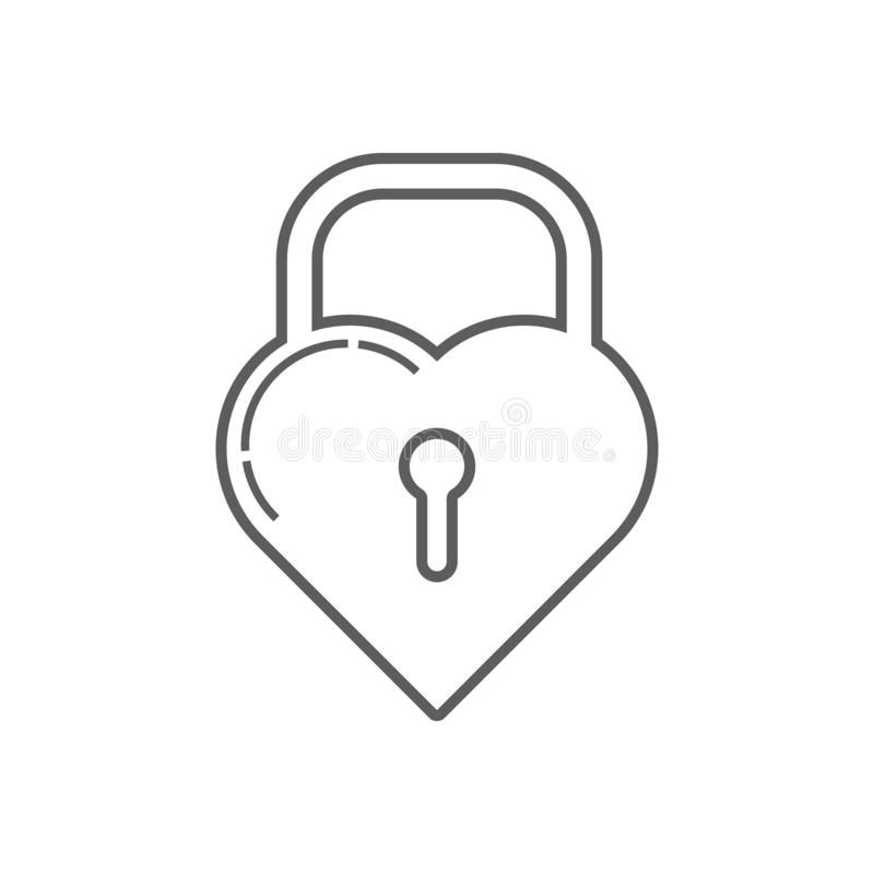 Schloss in Form einer Herzikone Element von Romance f?r bewegliches Konzept und Netz Appsikone Entwurf, d?nne Linie Ikone f?r Web lizenzfreie abbildung