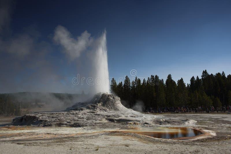 Schloss Geysir und toirtoise ausbrechend, schälen Sie Pool in Yellowstone Nationalpark stockfoto