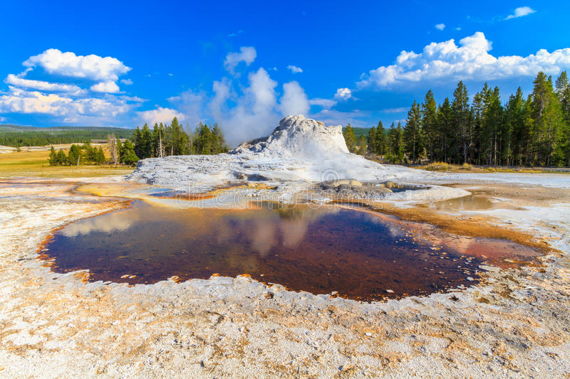 Schloss-Geysir, Yellowstone Nationalpark (oberes Geysir-Becken) stockfotografie