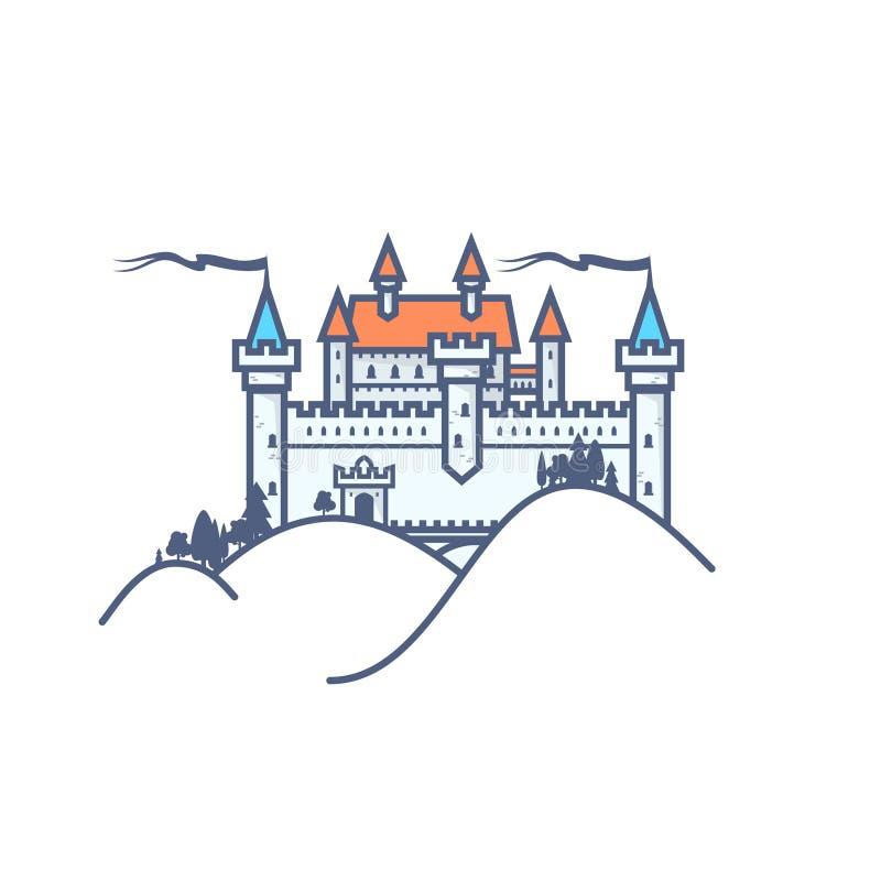 Schloss-Hügel auf weißem Hintergrund vektor abbildung