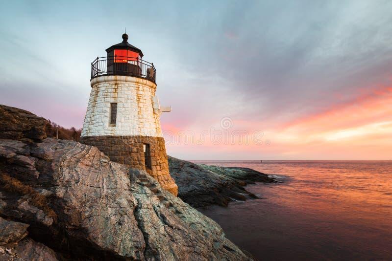 Schloss-Hügel-Leuchtturm Newport Rhode Island bei Sonnenuntergang stockfotografie