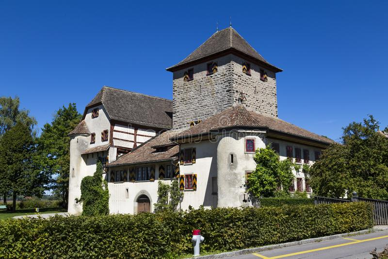 Schloss Hegi. City Winterthur, Switzerland. Ancient Hegi castle in the town Winterthur, Switzerland. General view, outside on a blue sky background in a summer stock photos