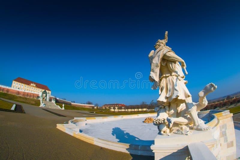 Schloss Hof, ?sterrike - Februari 19, 2017:: Schloss Hof ?r en barock slott i l?gre ?sterrike, som privious ?gare inkluderar prin royaltyfri fotografi