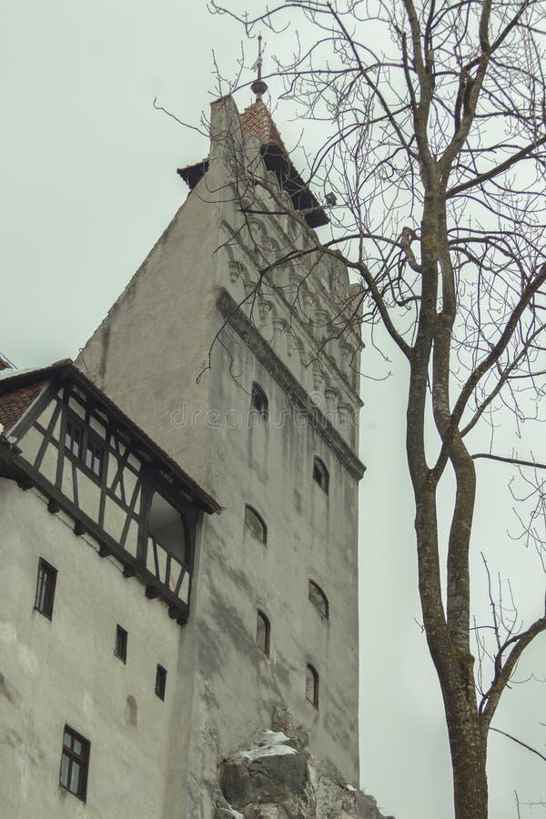 Schloss im Kleiedorf im Winter stockbild