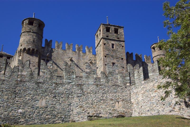 Schloss in Italien, Aosta stockbilder