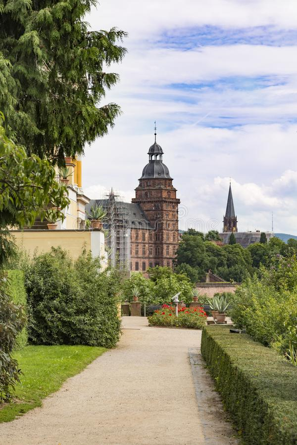 Schloss Johannisburg i Pompejanum, miasto Aschaffenburg, Niemcy fotografia stock