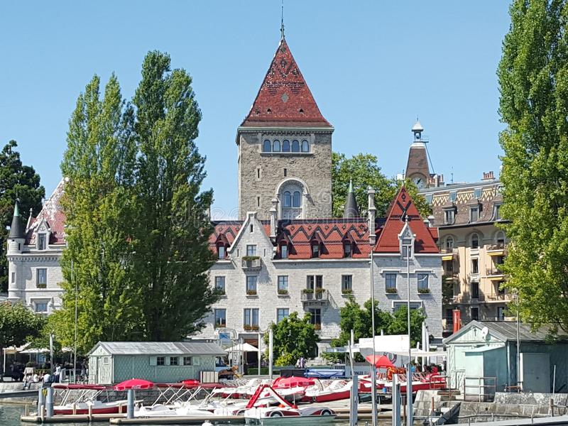 Schloss in Lausanne stockfotos