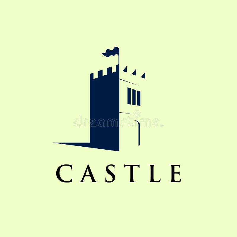 Schloss Logo Template im negativen Raum, Ikone, Symbol - Vektor stock abbildung