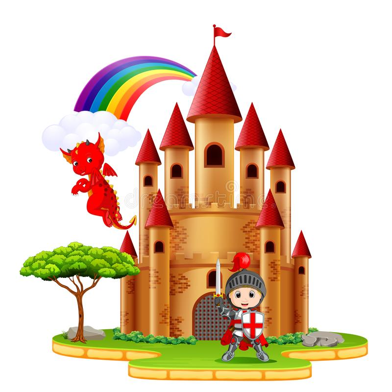 Schloss mit Drachen und einem Ritter vektor abbildung